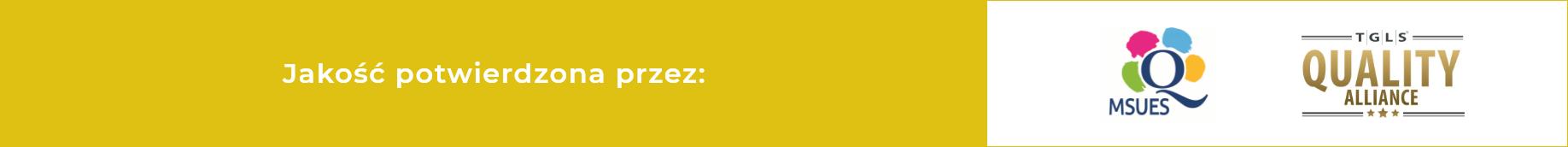 logo znaków jakości, MSUES, litera Q otoczona kolorowymi plamkami, TGLS - niebiesko złoty napis TGLS QUALITY ALLIANCE